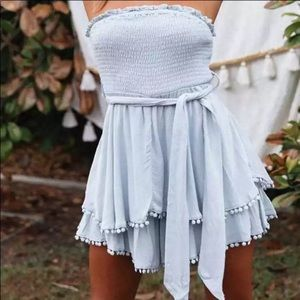 🆕 Blue Strapless Mini Romper Dress